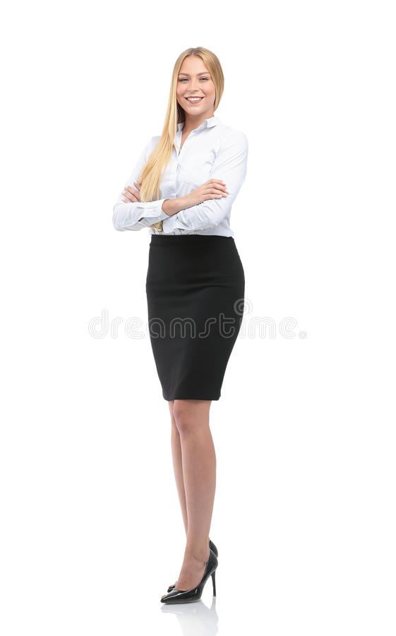 Portrait of young happy smiling businesswoman isolated against w. Young smiling businesswoman isolated on white royalty free stock photo
