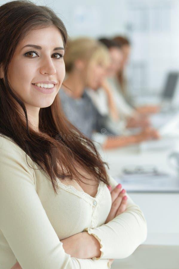 Smiling businesswoman posing stock photo