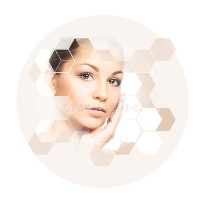 Portrait of young, healthy and beautiful woman. Plastic surgery, skin lifting, spa, cosmetics and medicine concept. Portrait of young, healthy and beautiful gil stock photos