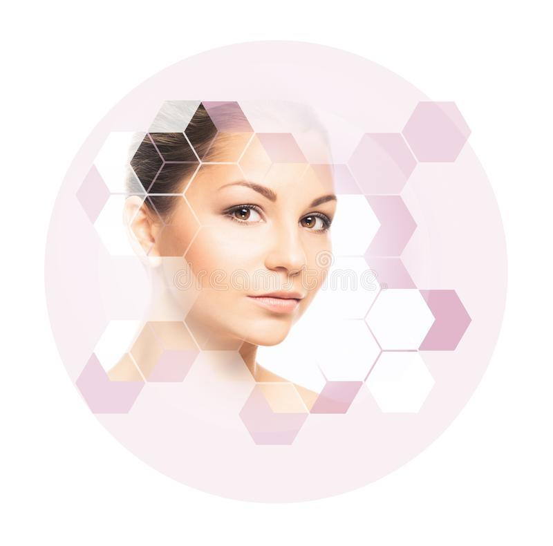 Portrait of young, healthy and beautiful girl plastic surgery, skin lifting, spa, cosmetics and medicine concept. Facial portrait of young and healthy woman stock images