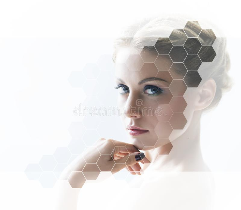 Portrait of young, healthy and beautiful woman plastic surgery, skin lifting, spa, cosmetics and medicine concept. Portrait of young, healthy and beautiful woman stock photo