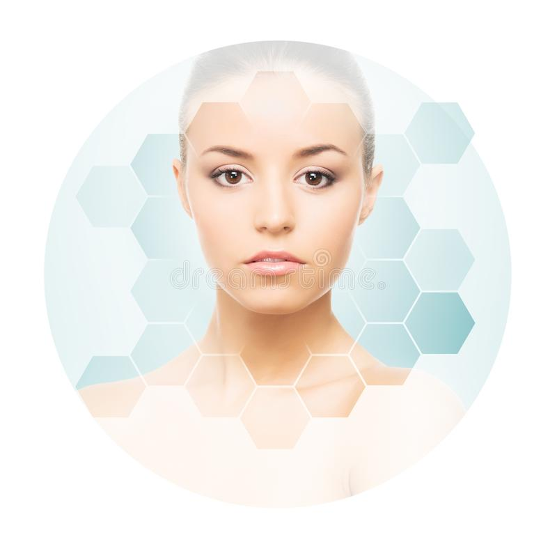 Beautiful face of young and healthy girl. Plastic surgery, skin care, cosmetics and face lifting concept. Portrait of young, healthy and beautiful woman plastic royalty free stock image
