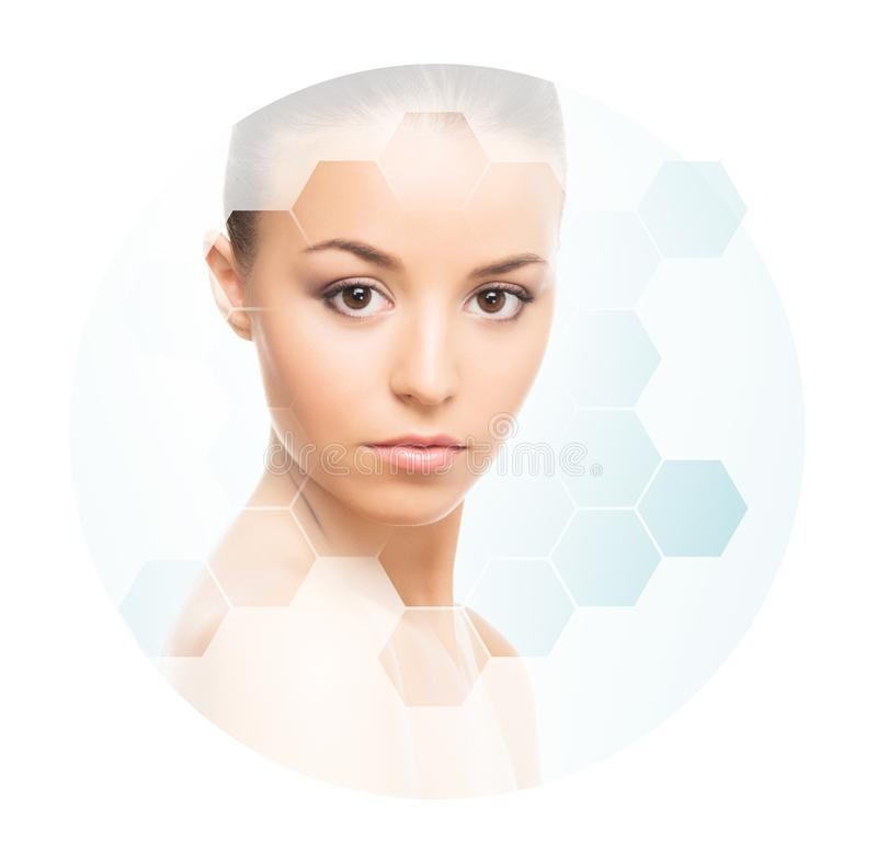 Beautiful face of young and healthy girl. Plastic surgery, skin care, cosmetics and face lifting concept. Portrait of young, healthy and beautiful woman plastic royalty free stock photo