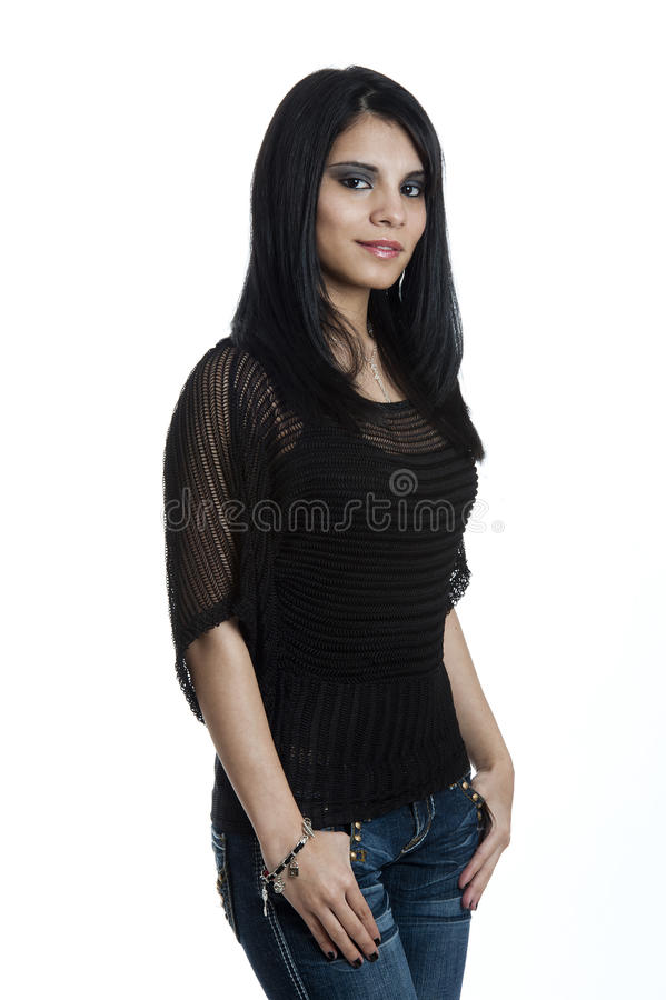 Portrait of a Young Hispanic Female stock images