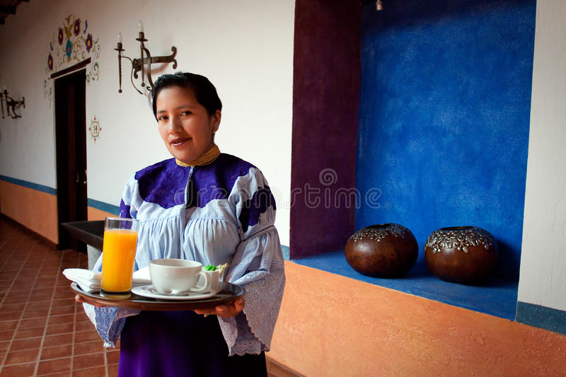 Portrait of young indigenous woman from Ecuador royalty free stock photo