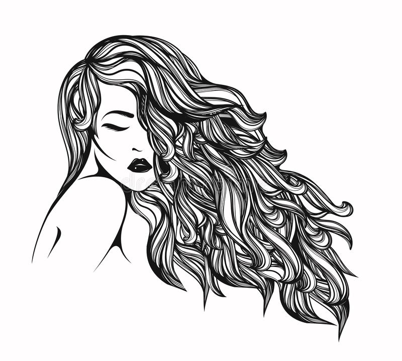Beautiful woman with long, wavy hair. Hair salon vector illustration. Portrait of a young lady with big volume hairstyle, long eyelashes and shiny lipstick on vector illustration