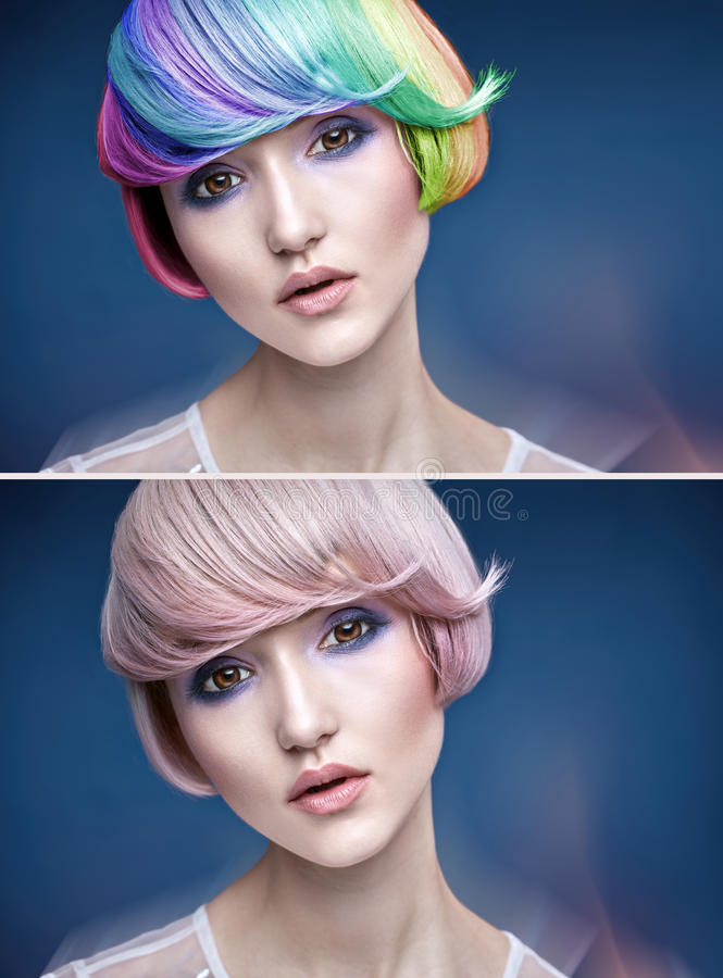 Portrait of a young lady with a colorful hairstyle stock images