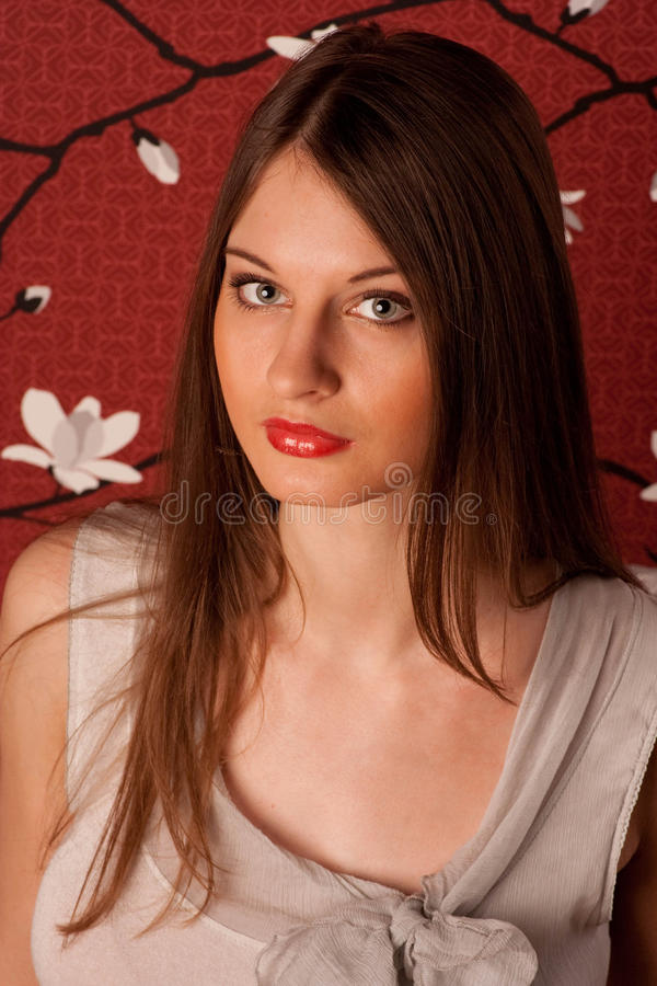 Portrait of the young lady with green eyes. stock images