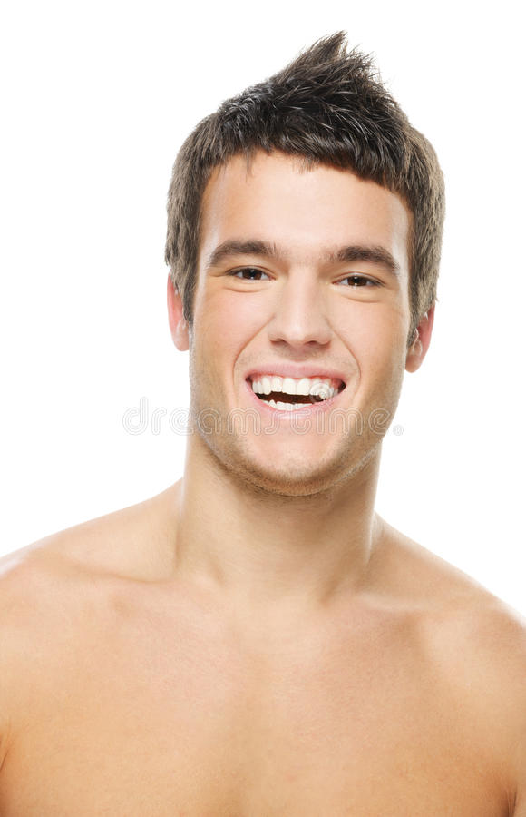 Portrait of young laughing man stock photos