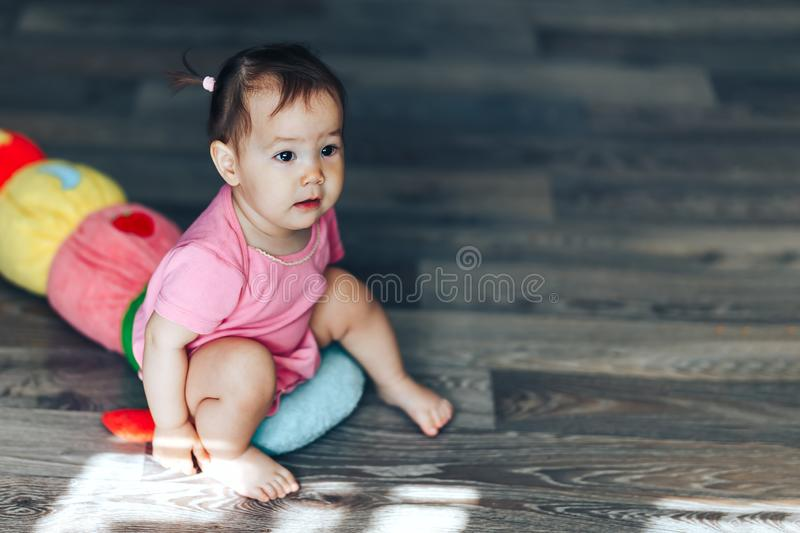 Portrait of young little cute asian one year girl.  royalty free stock photography