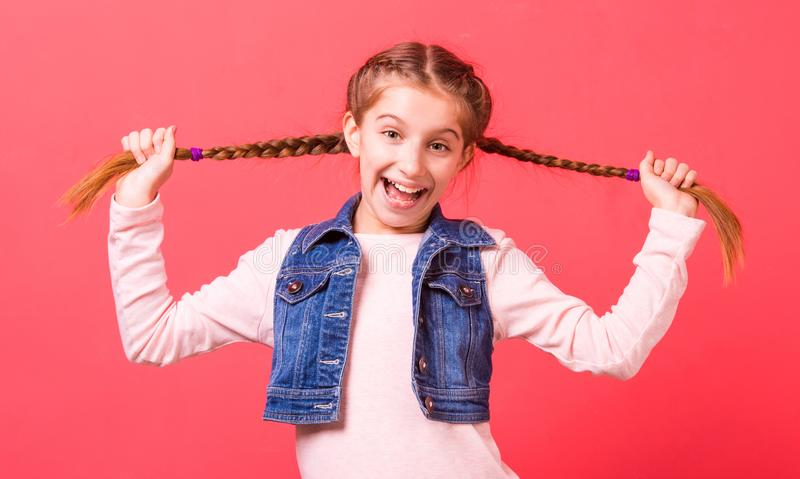 Portrait of young little girl with two braides royalty free stock images