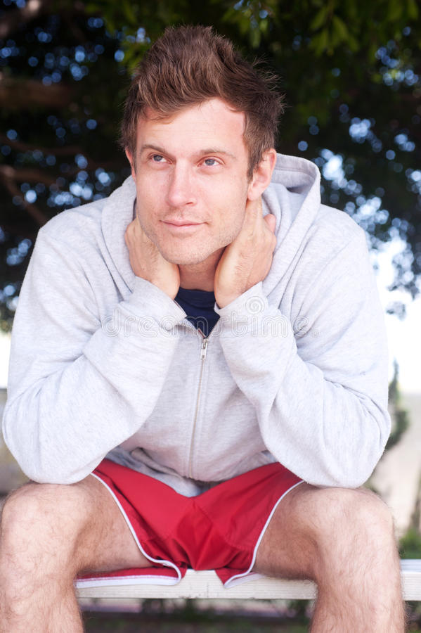Portrait of a young male athlete stock images