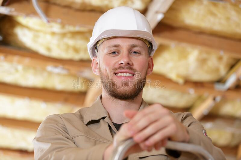 Portrait young male builder stock photo