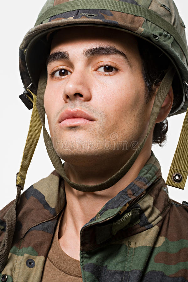 Portrait of young male soldier stock photo