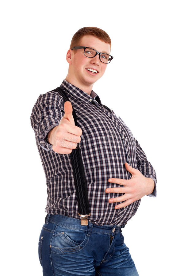 Portrait Of Young Man With Big Belly Stock Photo