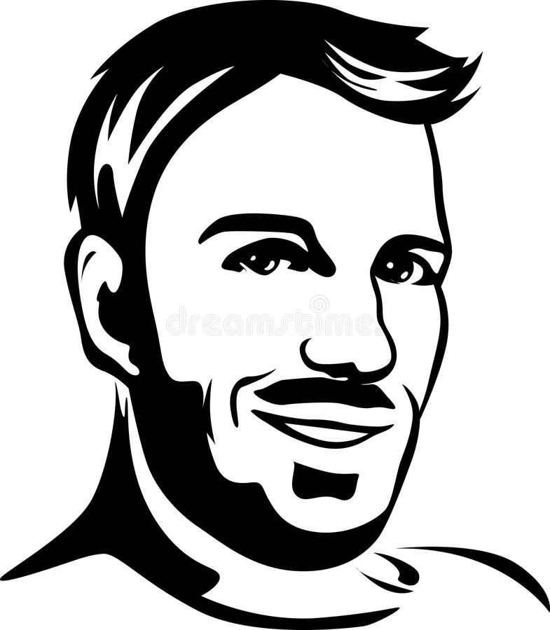 Download portrait of young man black outline illustration stock vector illustration of outline