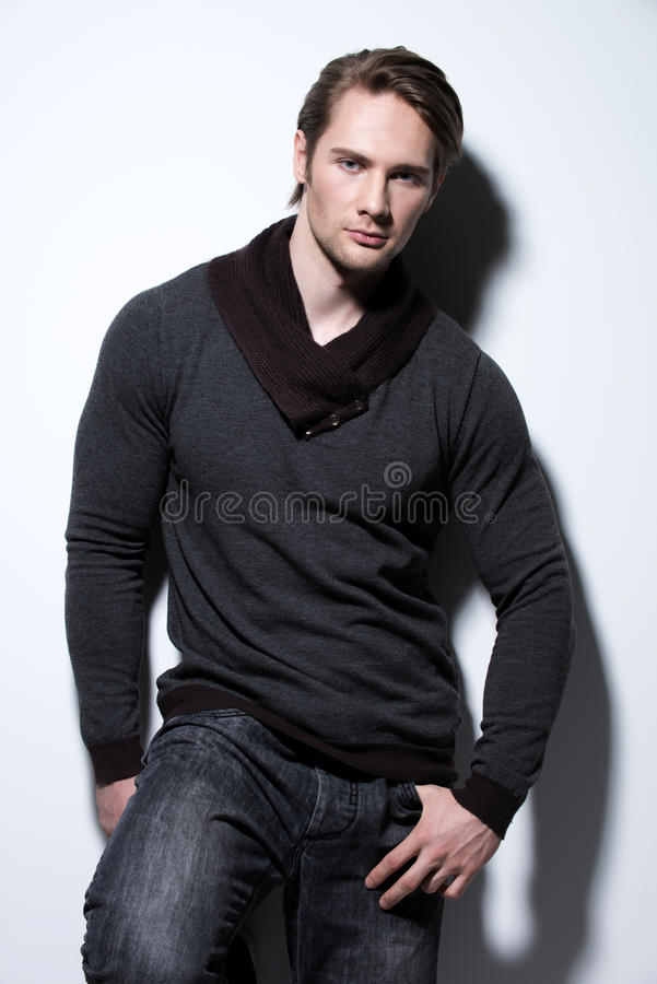 Portrait of young man in casual. stock images