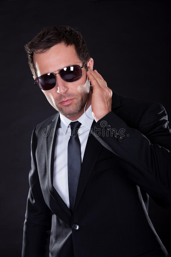 Portrait Of Young Man With Earphone stock photos