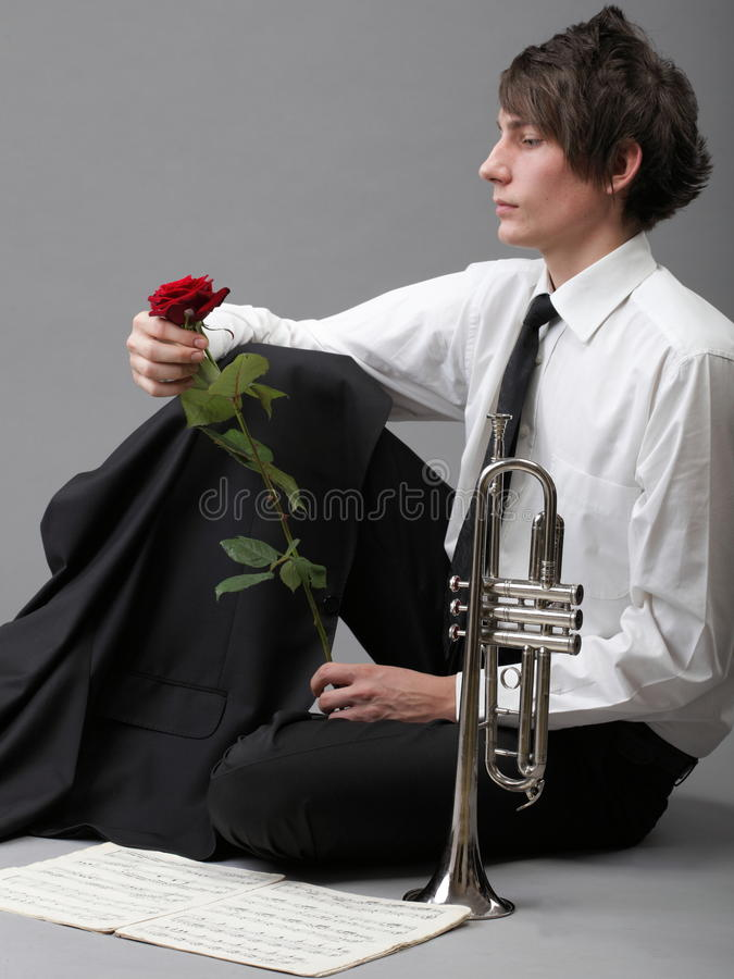 Portrait Young Man Enamoured Love Trumpet Royalty Free Stock Images
