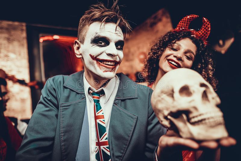 Portrait Young Man in Halloween Costume at Party royalty free stock photography
