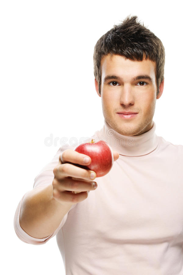 Portrait of young man holding red royalty free stock photo