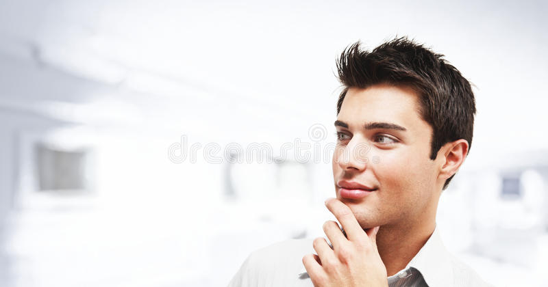 Portrait of an young man looking at the side stock photos