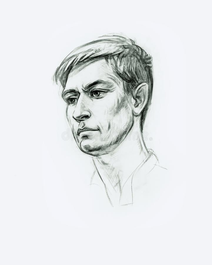 Portrait of a young man with a pencil. Hand drawn stock illustration