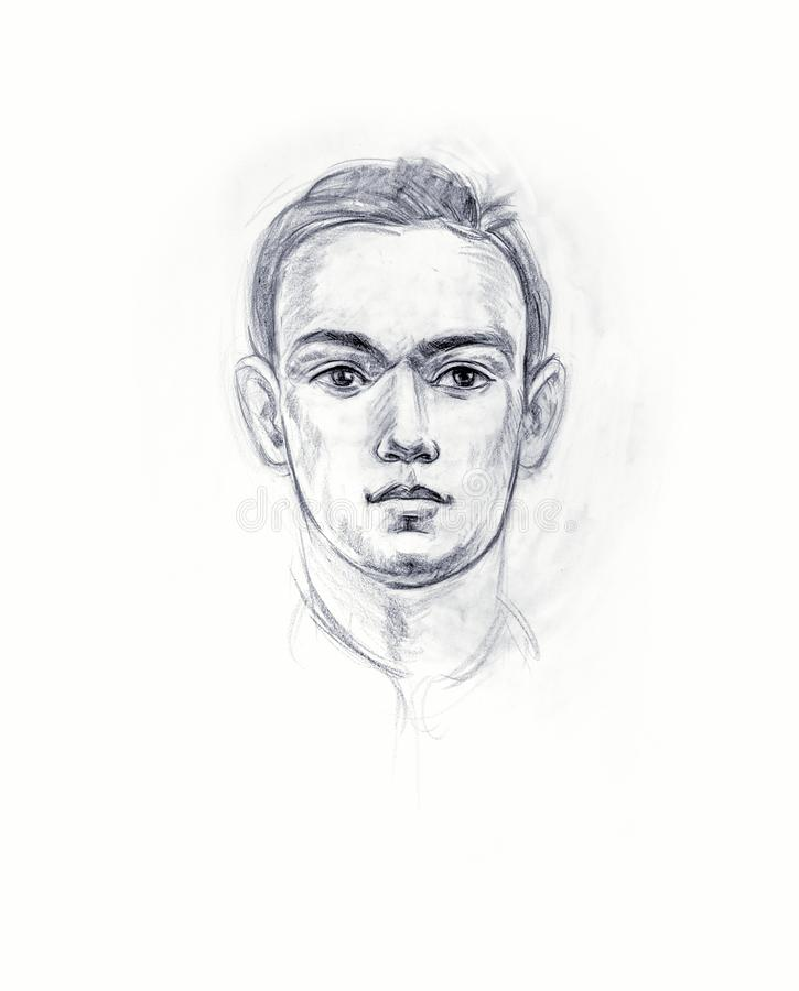 Portrait of a young man with a pencil. Hand drawn royalty free illustration