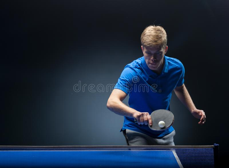 Portrait of young man playing tennis royalty free stock photos