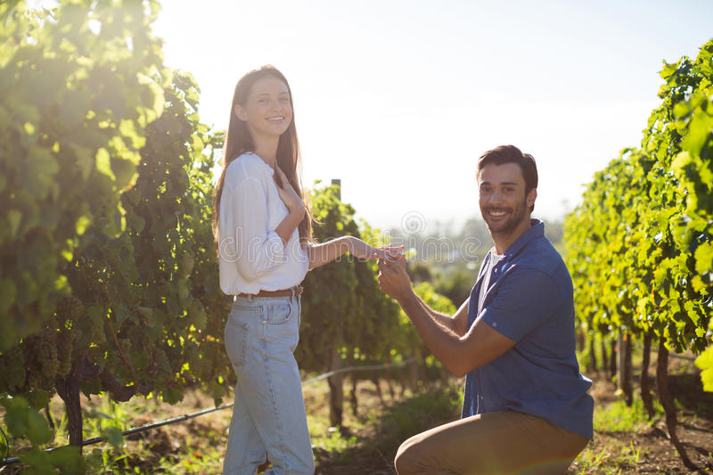 Portrait of young man proposing girlfriend at vineyard. During sunny day royalty free stock image
