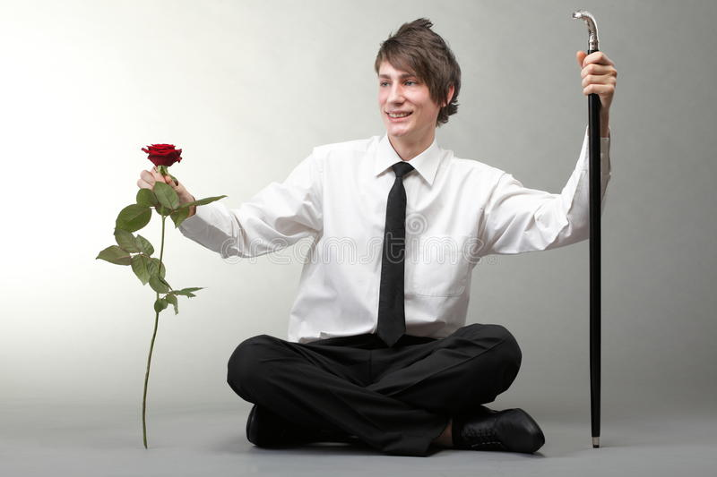 Download Portrait Young Man And Rose Enamoured Love Stock Photo - Image: 27338926