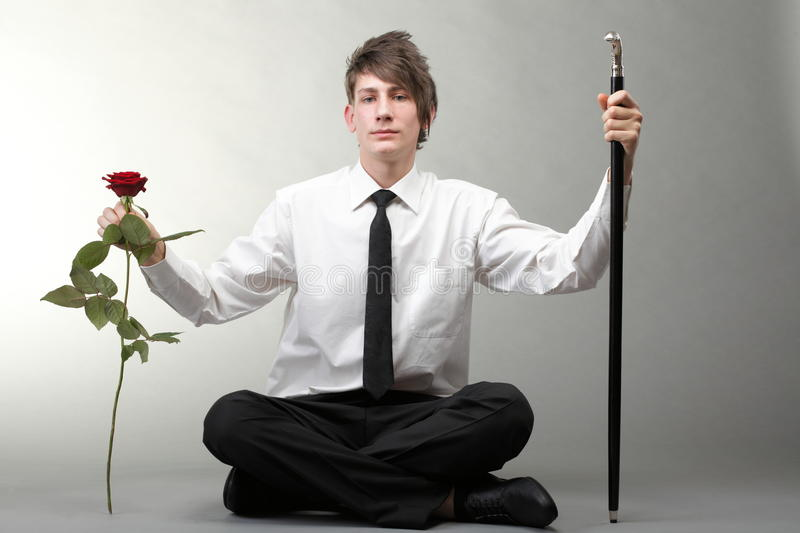 Portrait Young Man And Rose Enamoured Love Stock Images