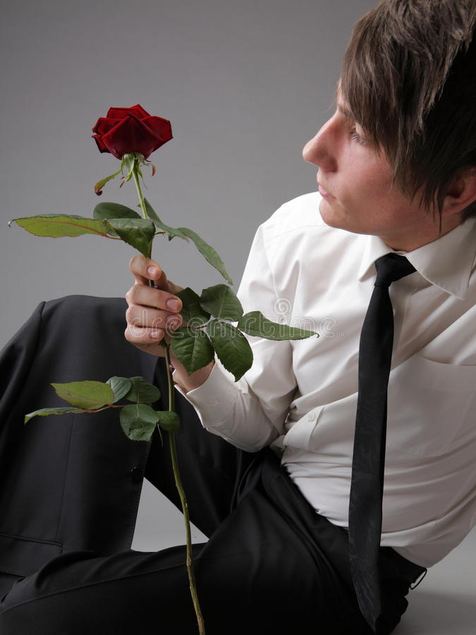 Download Portrait Young Man And Rose Enamoured Love Stock Photo - Image: 30460786