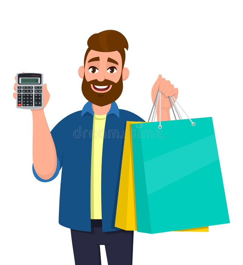 Portrait of a young man showing shopping bags. Person holding  calculator in hand. Male character illustration. Modern lifestyle. royalty free illustration