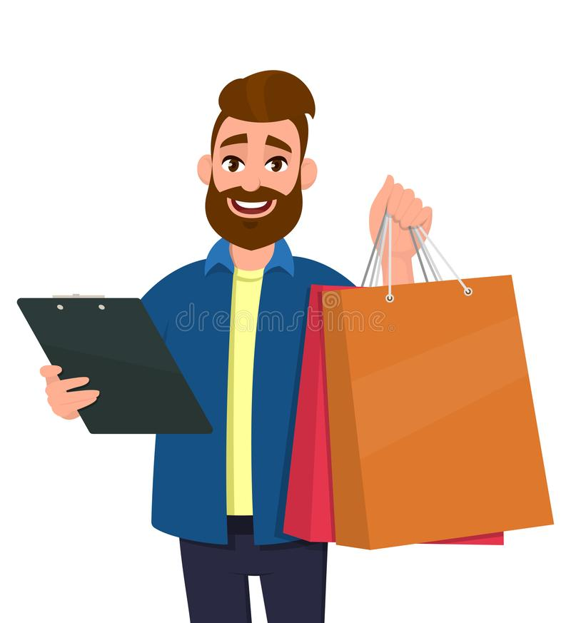 Portrait of young man showing shopping bags. Person holding a clipboard in hand. Male character illustration. Modern lifestyle. stock illustration