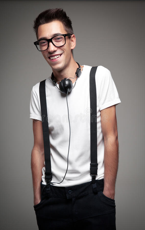 Portrait of a young man smiling stock photo