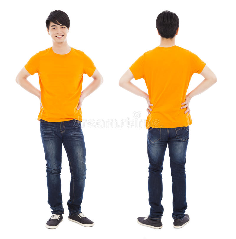 Portrait of young man standing , front and back stock photography
