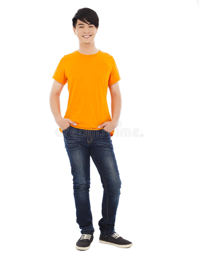 Portrait Of Young Man Standing.isolated On White Background Stock Photo