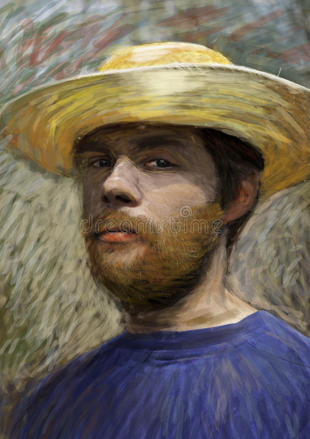 Download Portrait Of Young Man With Straw Hat Stock Illustration - Image: 26337943