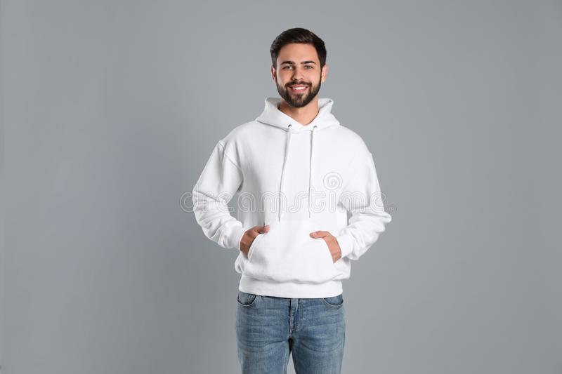 Portrait of young man in sweater. Mock up for design royalty free stock images