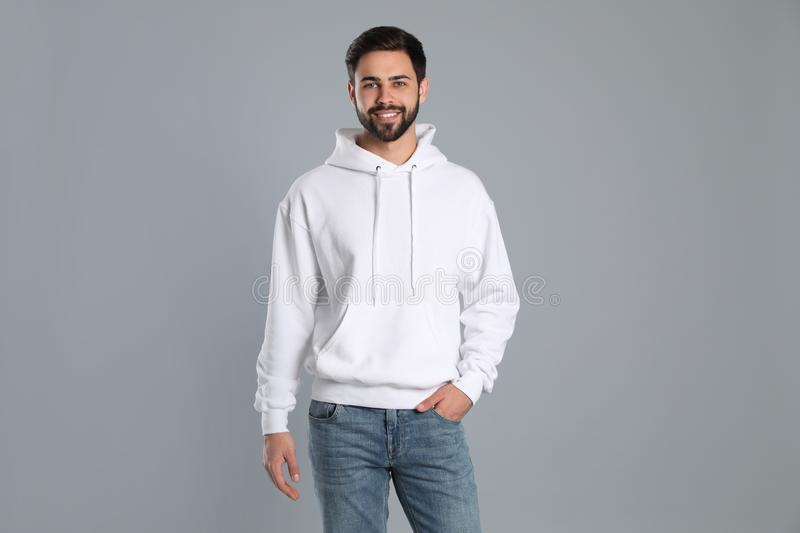 Portrait of young man in sweater. Mock up for design royalty free stock photo