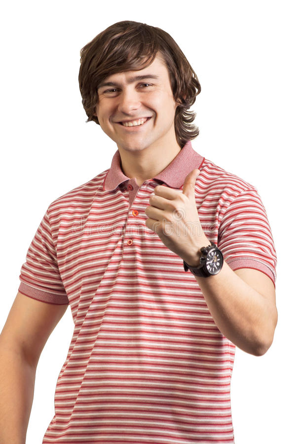 Portrait of a young man with thumb up royalty free stock images