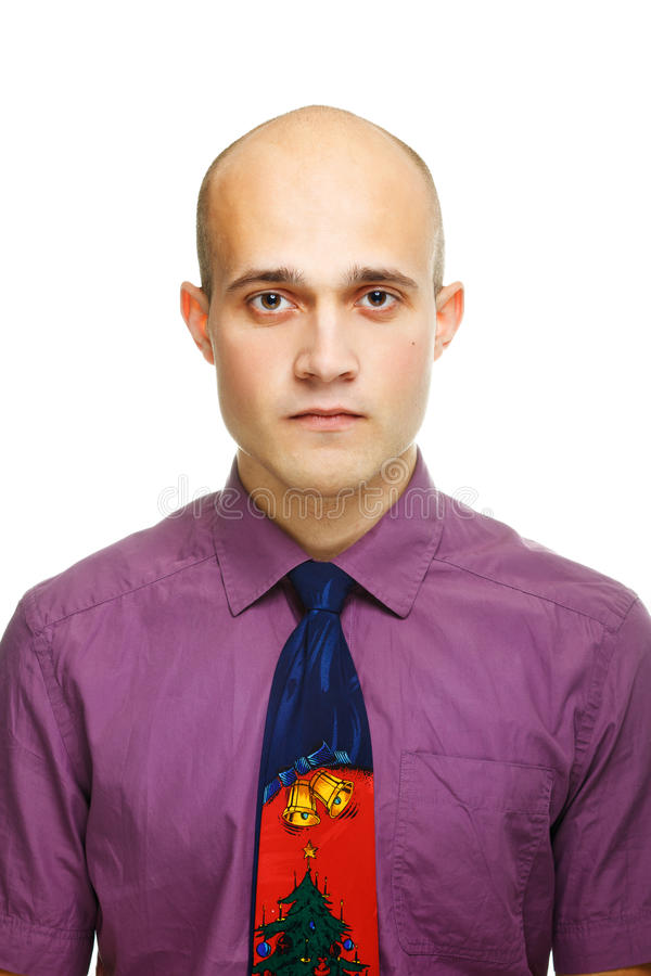 Portrait of the young man with a tie. On a white background royalty free stock image