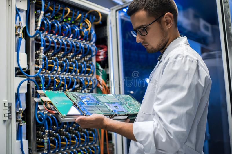 Scientist Holding Blade Server royalty free stock photography