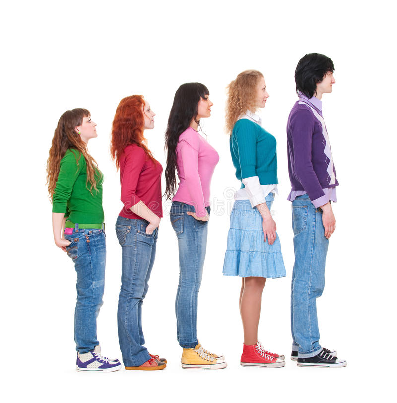 Download Portrait Of Young Man And Women In Turn Stock Photo - Image of modern, queue: 13732424