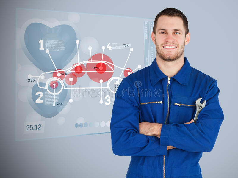 Portrait of a young mechanic next to futuristic interface vector illustration