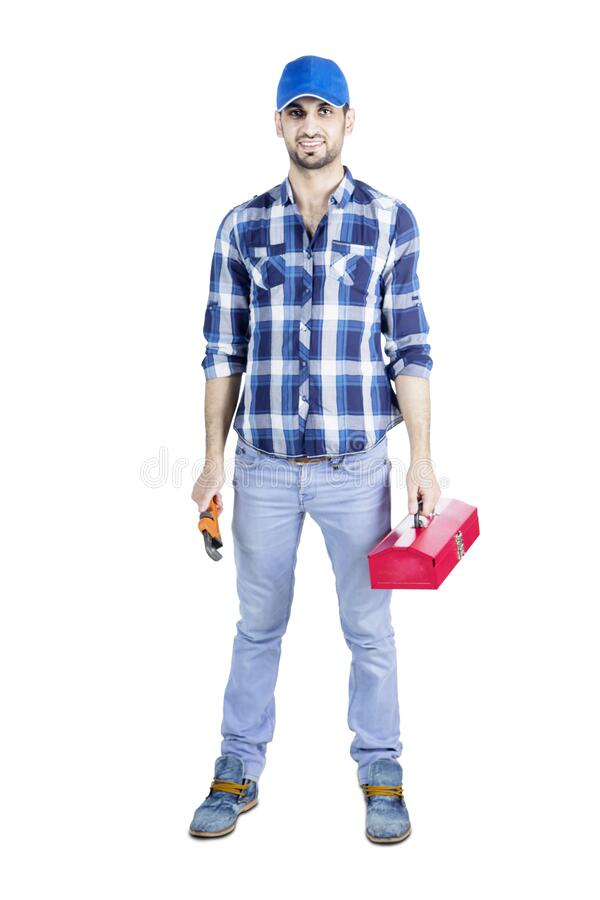 Young mechanic holding tool box and monkey wrench. Portrait of young mechanic wearing a hat while holding tool box and monkey wrench, isolated on white stock photos