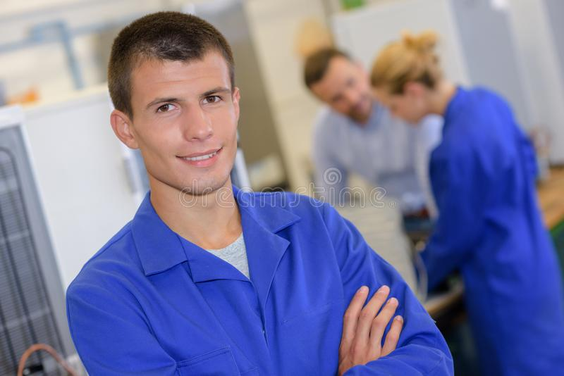Portrait young man in blue jacket royalty free stock photo