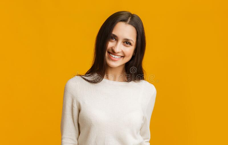 Portrait of young middle eastern girl smiling and looking at camera stock photos