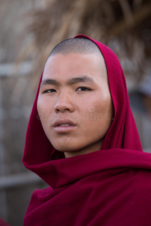 Portrait young monk in a monastery. Inle lake, Myanmar stock images